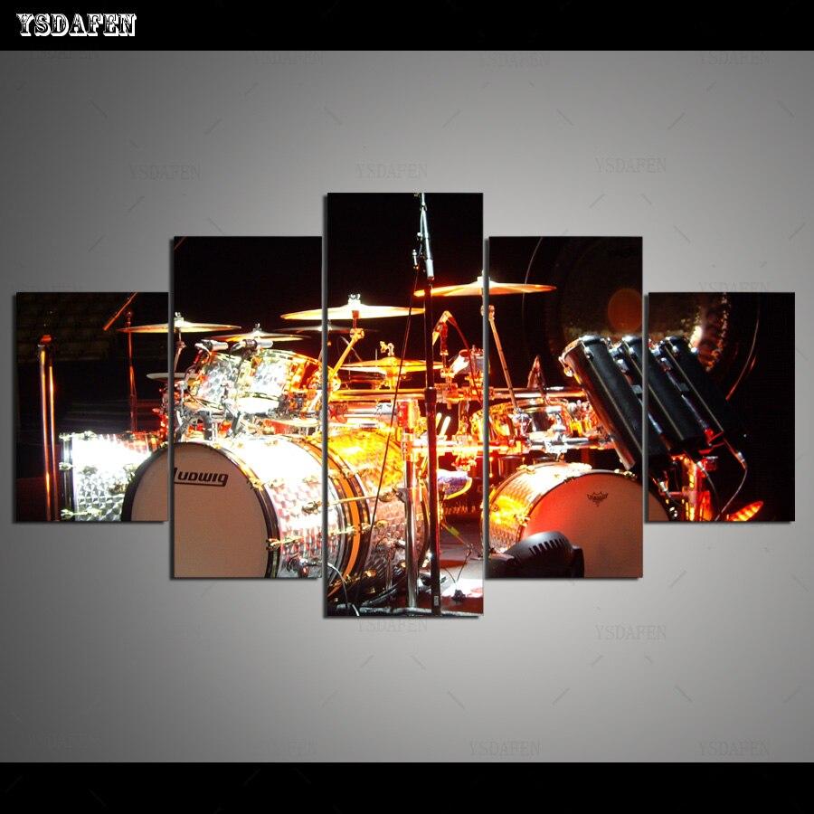 Kit de tambor de 5 piezas de arte de lona impreso en HD pintura lienzo imágenes de pared para sala de estar decoración del hogar envío gratis HG-247