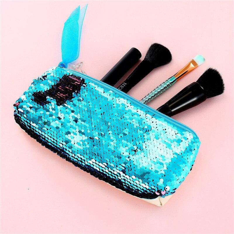 Mermaid Sequins Cosmetic Bag Women Double Color Paillettes Pencil Bags Makeup Brush Pouch Fashion Makeup Bag Handbags Purse