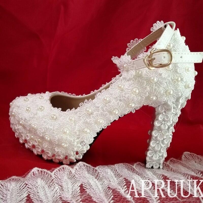 Correas de hebilla de tobillo, encaje completo, zapatos blancos de boda, zapatos...