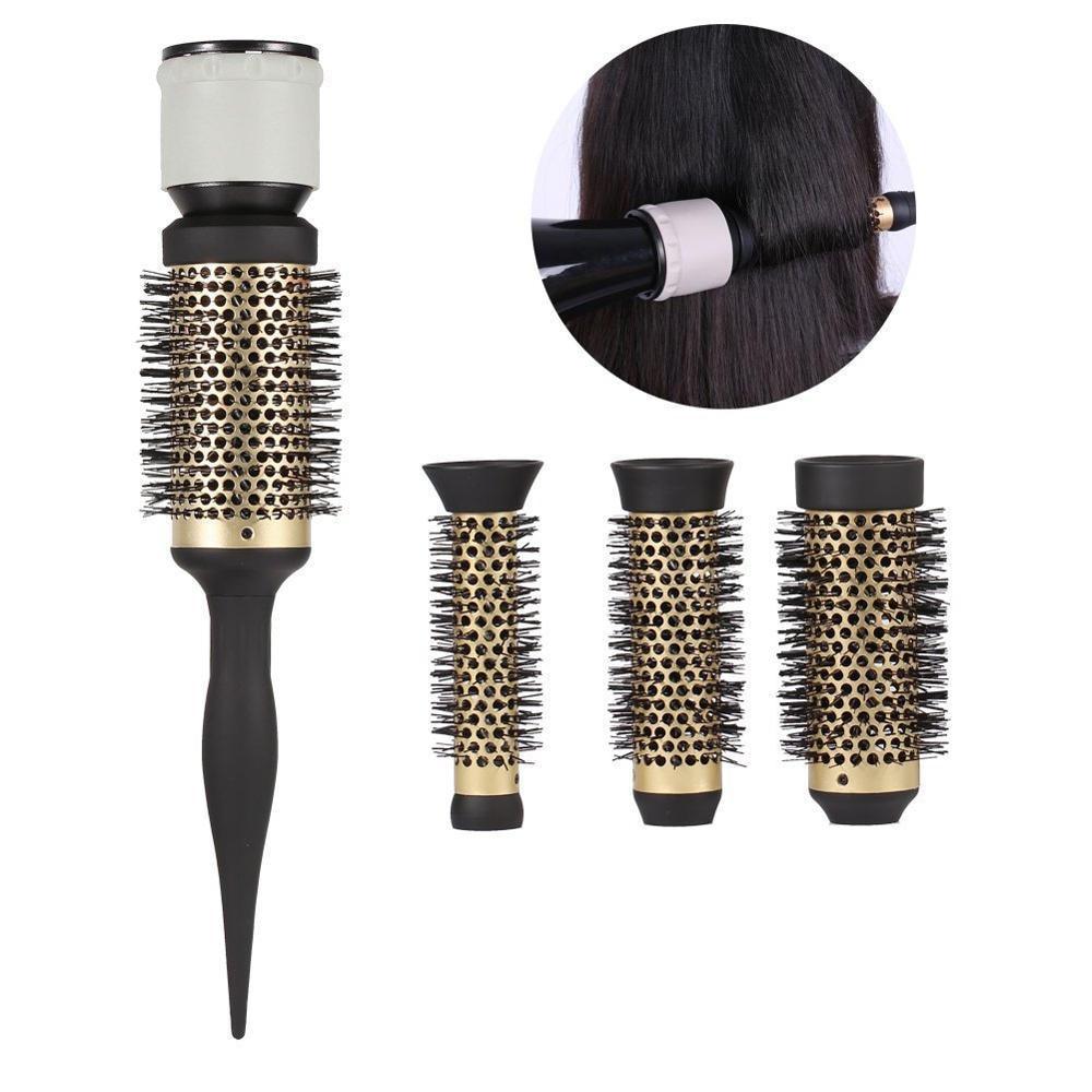 Ceramic Hair Brush Set Detachable Hairbrush DIY Hairstyle Tools Aluminum Round Brush With Nozzle Kit Fluffy Curly Hair Maker 964