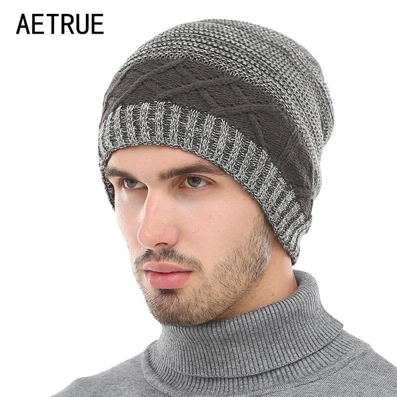 Gorro de invierno AETRUE, gorro tejido, gorros para hombres, gorro cálido holgado pasamontañas, moda de invierno, sombreros para hombres y mujeres, sombrero de punto