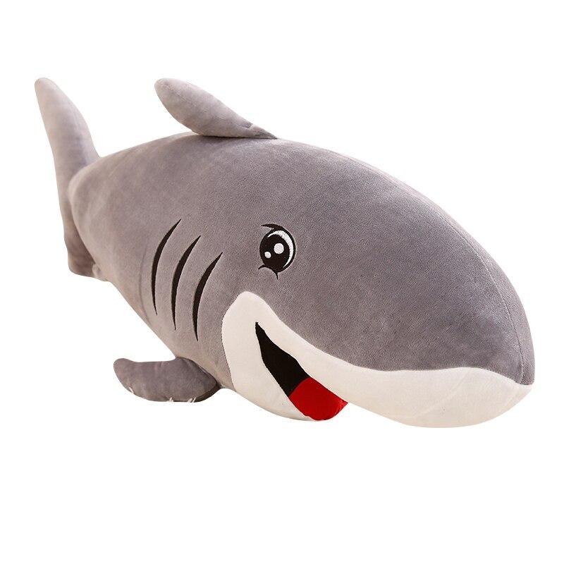 50-120 cm de dibujos animados de gran tamaño divertido suave océano mundo sonrisa tiburón felpa almohada cojín de peluche de Navidad cumpleaños regalo para los niños