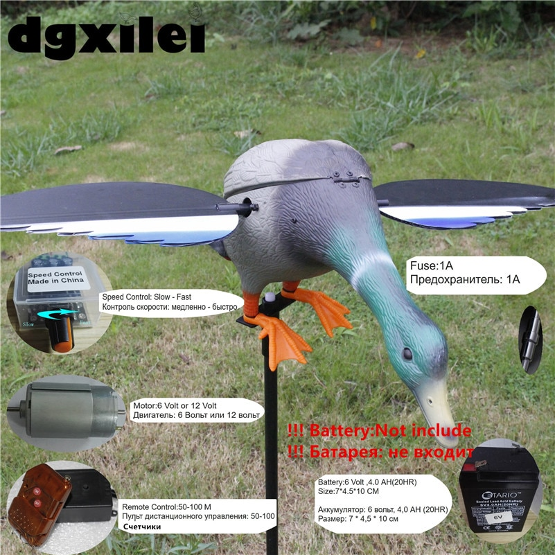 Wholesale & Retail Mallard Duck 6V 12V Remote Control Hunting Duck Decoy Hunt Duck Hunting Goods With Magnet Spinning Wings hunt duck lovely simulation animal hunting decoy plastic duck garden ornaments sports entertainment