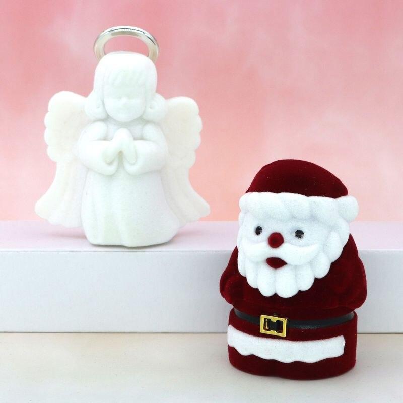 Бархатная Рождественская шкатулка для серег с милым ангелом, Сантой, ожерелье, кольцо, подарочные коробки для ювелирных изделий, держатель для обертки, оптовая продажа