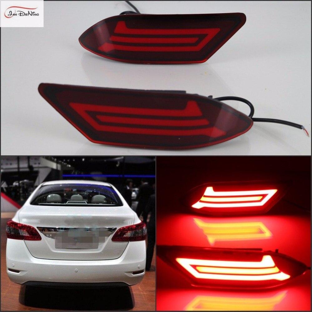 Luces de freno de guía de luz LED para coche JanDeNing giro de señal de noche DRL para Nissan Sentra silphy 2016-2017