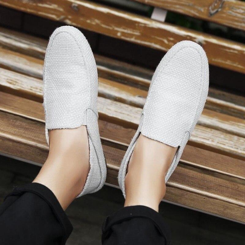Mocasines de lino, zapatillas de deporte para Hombre, zapatos de lona informales de tendencia, zapatillas transpirables de verano Slipon, zapatos planos para Hombre, Alpargatas para Hombre