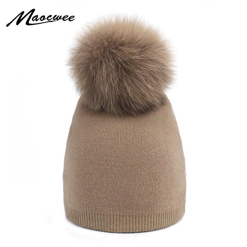 Los niños chica Pom gorro pompón de lana niños de piel de sombrero de pompón niños Fox pompón Piel de mapache invierno sombrero