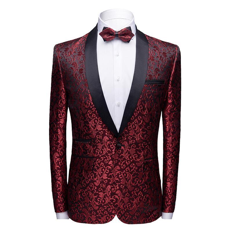 Men's shawl lapel suit jacket  2019 trend pattern mens jacquard blazer men's slim elegant tuxedo Men stage party clothing