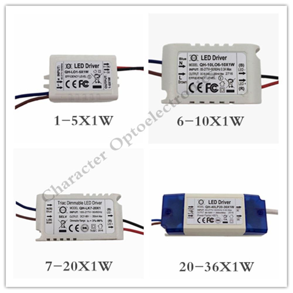 5 uds 1-5X1W 6-10X1W 7-20X1W 20-36X1W fuente de alimentación LED transformador fuente de alimentación luz F 1W Chip LED