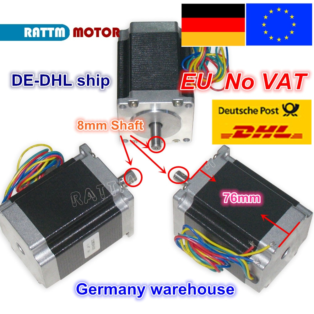 【EU barco/VAT】 3 uds NEMA23 motor paso a paso 76mm/270Oz-in/3A 1.8Nm CNC motor CNC maquina enrutadora 3D impresora