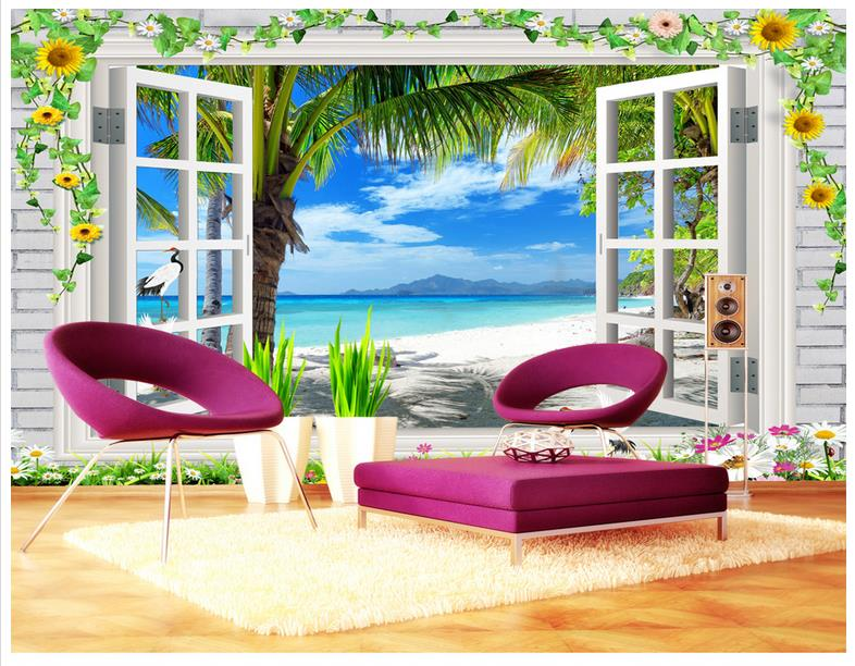 Custom 3d wallpaper for walls 3 d wall murals wallpaper Island coconut palms 3D landscape outside view fresh TV sofa background
