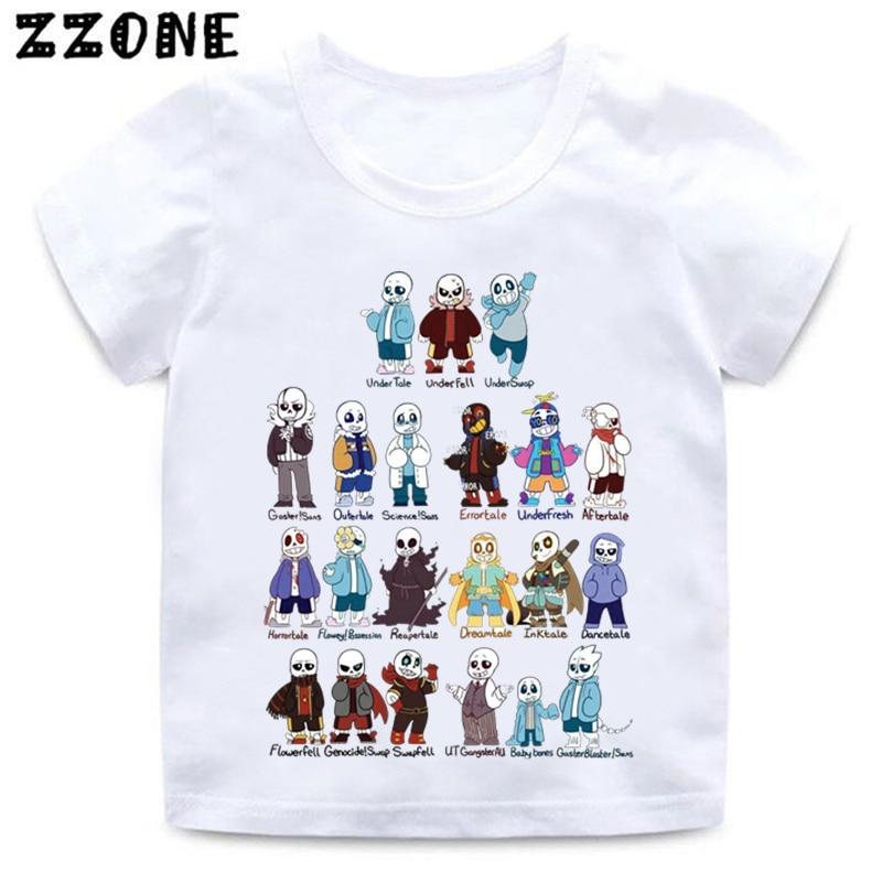 Camiseta con estampado de cráneo hermano Undertale Sans para niños y niñas, camiseta blanca divertida para bebés, ropa informal de verano para niños, HKP2405