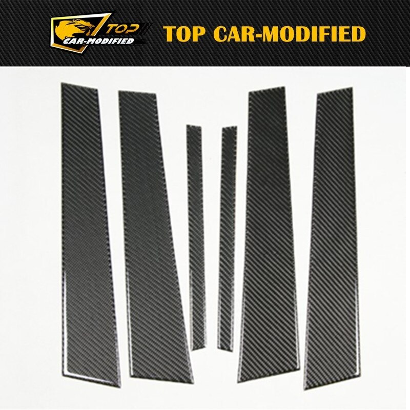 Envío Gratis, 6 unidades/conjunto, adornos exteriores, fibra de carbono, A4, Auto B, pilares para BMW 1 serie E82/E87/E46/E90/E92