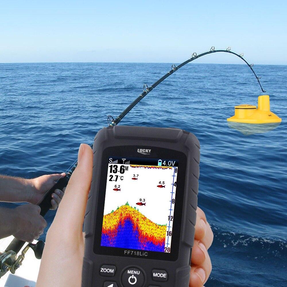 Lucky gps fish finder FF718LiC-W sonar fishing fishfinder ice Fishing depth 45M/147Feet wireless echo sounder for fishing enlarge