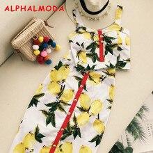 ALPHALMODA Summer Women Fashion Skirt Set Pineapple Printed Tank Top High Waist Step Skirt Female Holidays Skirt Suits