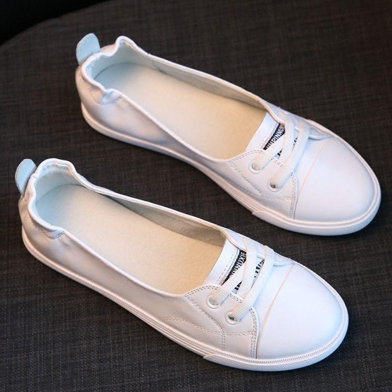 Маленькие белые туфли; женская повседневная обувь на плоской подошве в Корейском стиле для путешествий; обувь для медсестер и студентов