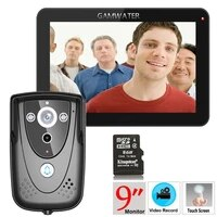 9tft dvr recording color touch screen video door phone with pir record intercom system with ir camera 8g sd card