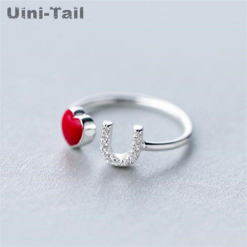 Uini-Tail hot new 925 sterling silver sweet Heart-shaped anel feminino gota glaze Inglês letra anel de moda selvagem tendência jóias