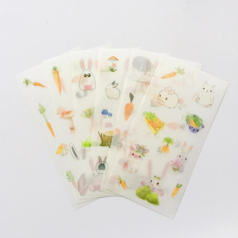 6 листов/упаковка, клейкие декоративные наклейки на клейкой основе для кошек и моркови, наклейки для украшения