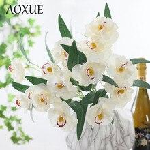 3 heads Huilan simulation plant simulation fake flower Huilan short branch European silk flower home living room decoration