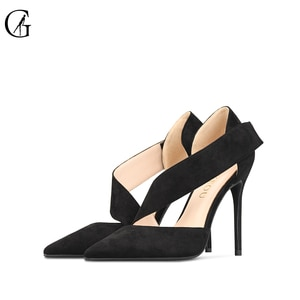 GOXEOU Women's Pumps Flock D'Orsay Nude Black Red Pointed Toe Hook 6 8 10CM High Heels Party Fashion Office Lady Shoes Size32-46