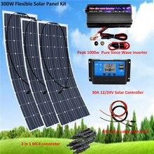 Panneau solaire noir Flexible 100W 18 volts   3 pièces + contrôleur LCD 30A 12 24 volts, panneaux de 300 watts, batterie solaire de voiture