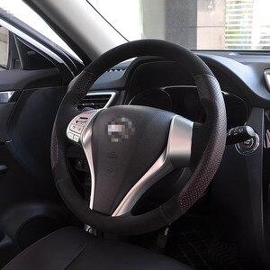 Ручная работа черная замша черная кожа красные отверстия чехол на руль для Nissan 2013 Teana 2014 X-Trail QASHQAI Sentra