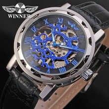 Механические часы-скелетоны WINNER Steampunk мужские брендовые Роскошные деловые водонепроницаемые наручные часы из натуральной кожи