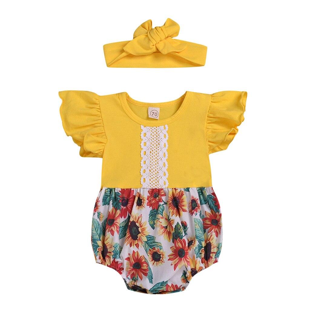Traje MUQGEW, ropa para niño de verano, ropa infantil para niña bebé, mangas acanaladas, Pelele de encaje Floral de girasol, trajes de Body