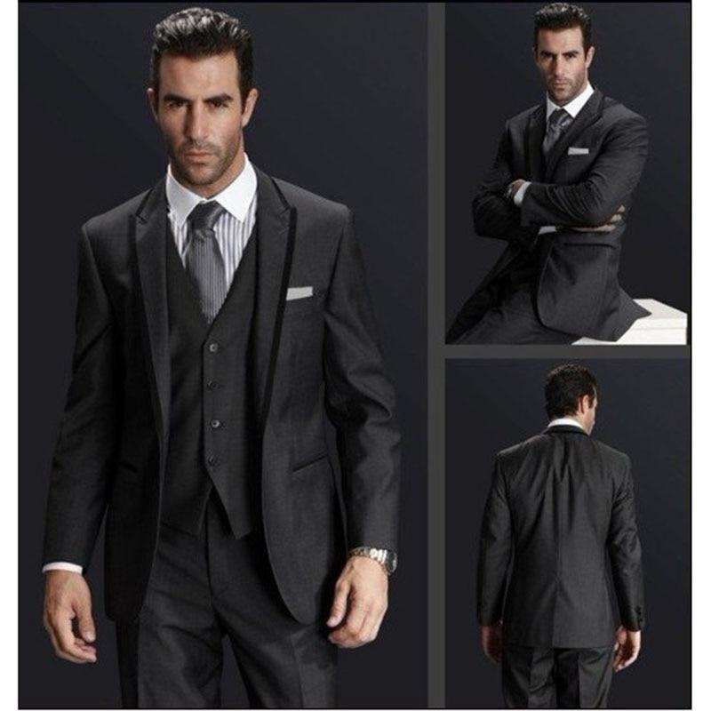 Back Vent Groom mens suit smoking Gris Carbón traje para padrinos de boda solapa trajes para cena o boda terno para hombres 2017 (chaqueta + Pantalones + chaleco)