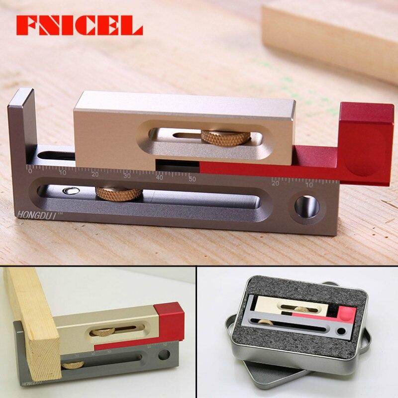 El regulador de la ranura del calibrador del hueco de carpintería hace que la herramienta de regla de compensación de longitud del bloque de medición móvil de la mortaja y del tenón
