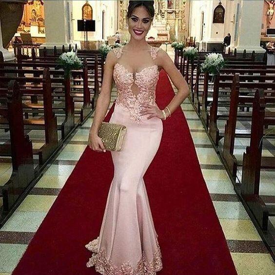 Vestidos de graduación largos de sirena de tul transparente para mujer 2019 Rosa apliques formales de encaje vestido de noche vestido de fiesta de Gala hecho a medida