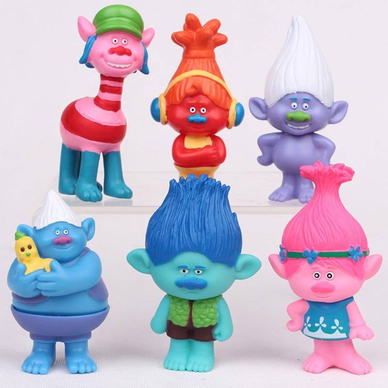 6pcs/lot 8cm Trolls Movie Figure Collectible Dolls Poppy Branch Biggie PVC Figures Doll Toy Trolls Figures Toys