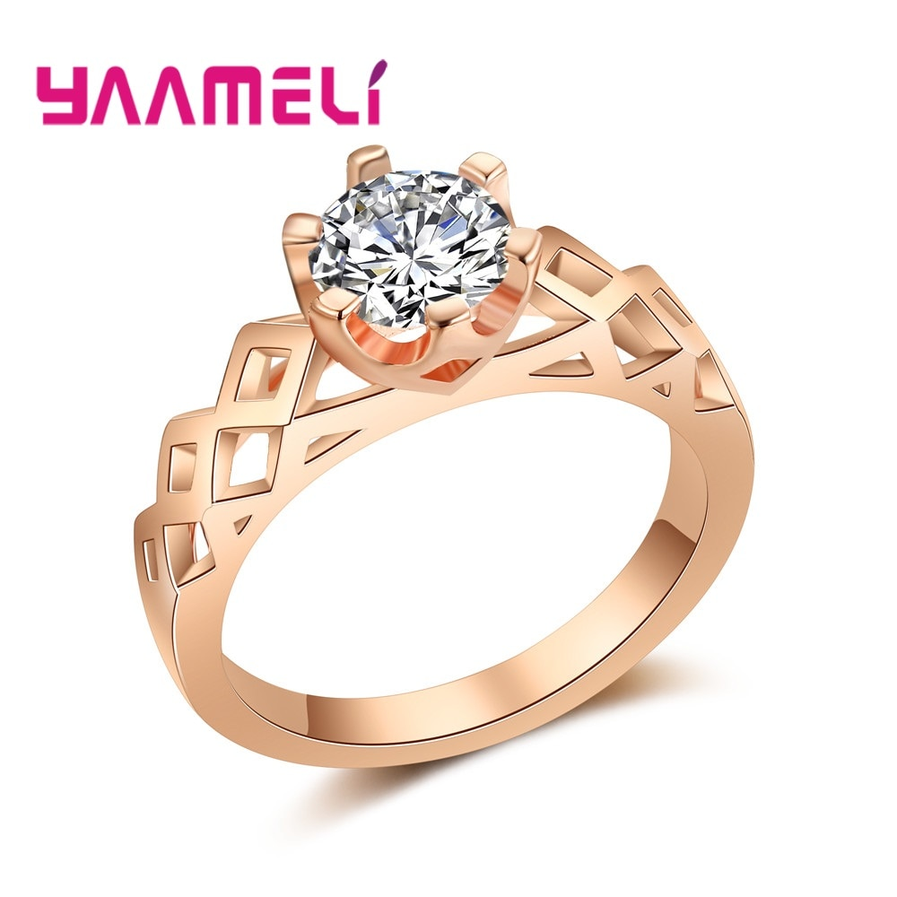 925 Sterling Silver CZ Stone Ring Jewelry Bague Femme Rose Gold Color 6 Claws Setting Crystal Wedding Women for Jewelry Hot Sale sterling 925 silver color ring for women wedding jewelry natural garnet stone statement ring classic rose gold ring jewelry gift