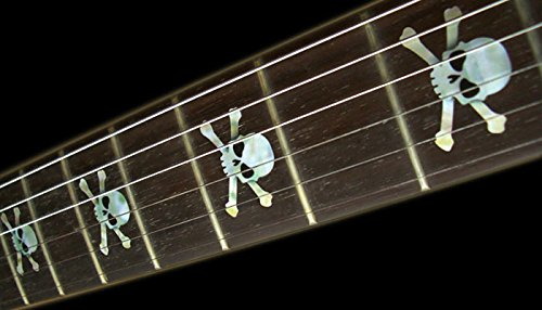 Fretboard Markers Inlay Sticker Decals for Guitar & Bass - Skull - White/Red/Black enlarge