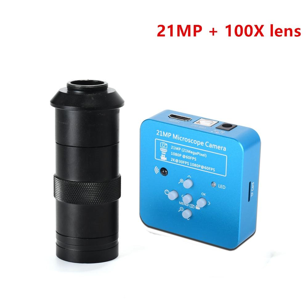 كاميرا مجهر فيديو رقمية صناعية 21 ميجابكسل 2K 1080P 60 إطارًا في الثانية HDMI USB كاميرا مجهر رقمي miكرونة skop kamera مكبر للهاتف PCB THT لحام