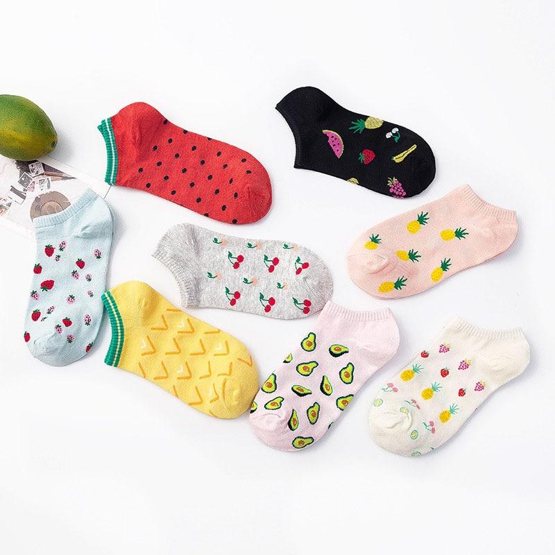 Носки в Корейском стиле с рисунком фруктов, клубники, арбуза, банана, забавные носки в стиле Харадзюку