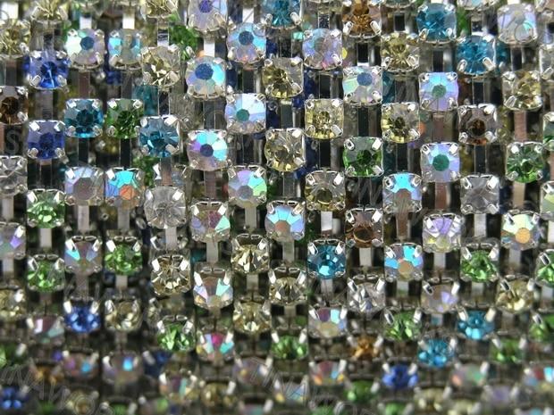 Free Shipping 10 Yard SS20 888 Neon/Rainbow Crystal Rhinestone Close Chain Trims Silver Cup Chain 3.0mm Wedding Cake Decoration