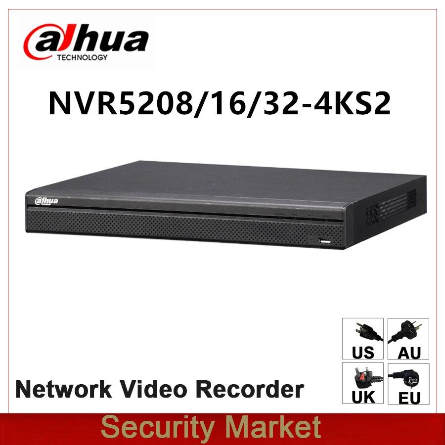 Original dahua English Version NVR5208-4KS2 NVR5216-4KS2 NVR5232-4KS2 8/16/32 Channel 1U 4K&H.265 Pro Network Video Recorder