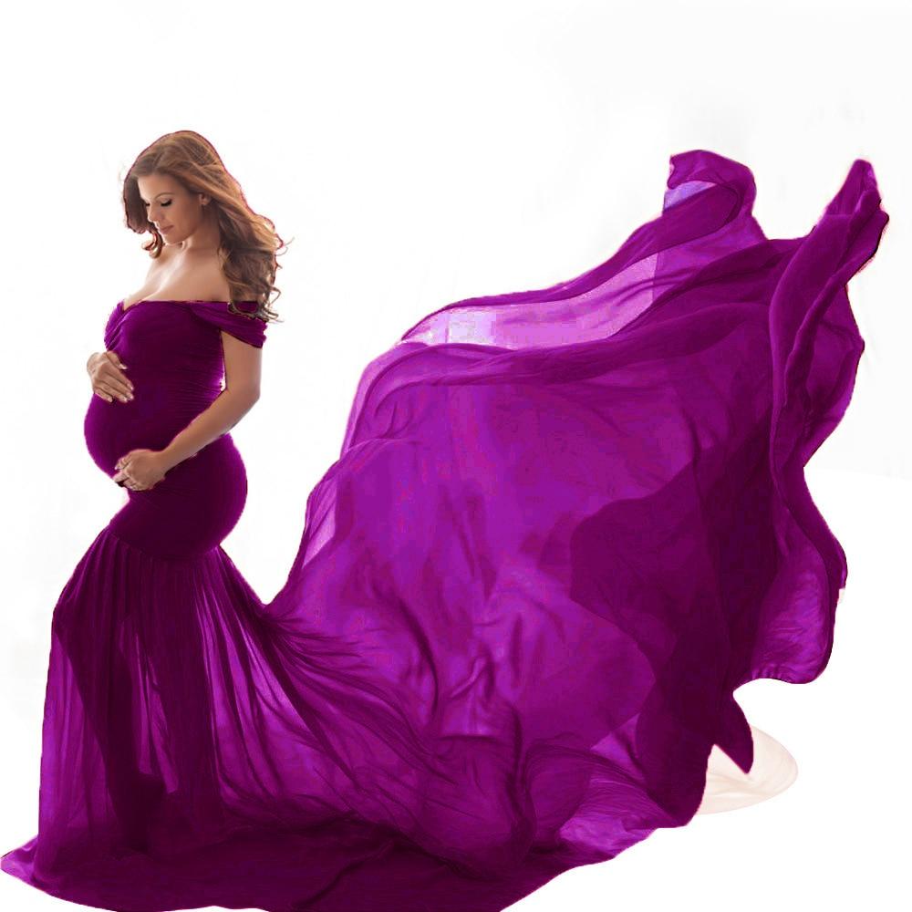 فستان حمل طويل بأكتاف عارية ، إكسسوارات تصوير للحوامل ، فستان حمل ماكسي