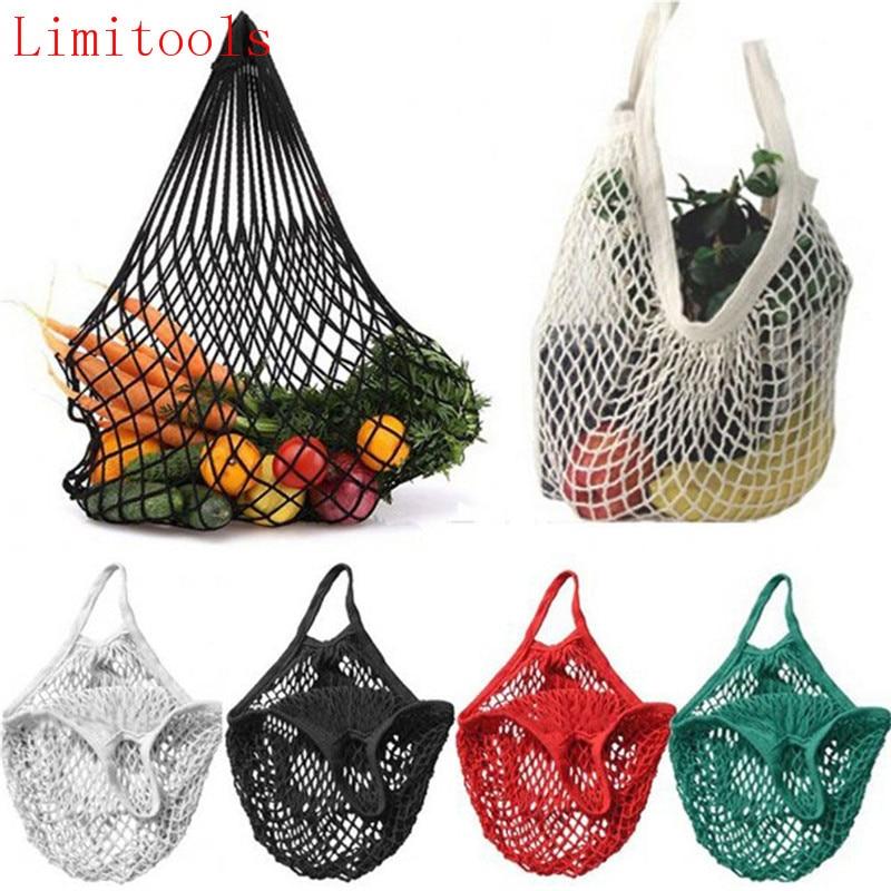 LIMITOOLS marca nuevo 1PC reutilizable cadena bolsa de compras para productos alimenticios Shopper Tote de red de malla bolsa de algodón tejido a mano bolsas