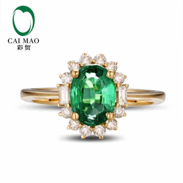 CaiMao 1.02 ct Natural Esmeralda 18KT/750 Ouro Amarelo 0.38 ct colombiano Completa Cut Diamond Anel de Noivado Jóias de Pedras Preciosas