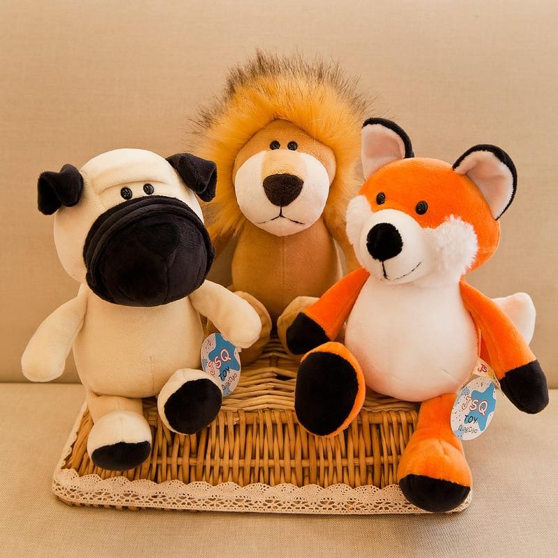 25/35cm Cute Plush Animal Toy Fox Raccoon Giraffe Orangutan Monkey Tiger Lion Elephant Dog Sweetheart Baby Gift