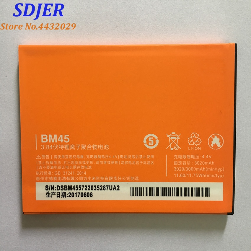 100% Original Backup 3020mAh Battery For Xiaomi BM45 Redmi Note 2 Smart Mobile Phone + + Tracking Number недорого