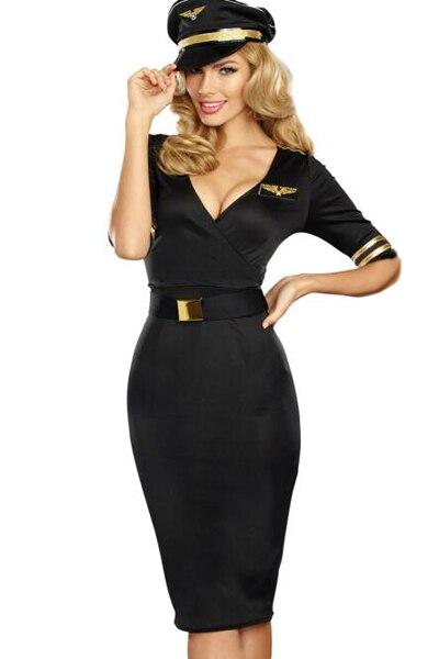 زي كابتن الطيران للنساء ، فستان مثير للنساء البالغات بتصميم طيران ، فستان مضيفة للنادي ، زي مناسب للرحلات