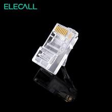 ELECALL100 /200pcs 8 Pin RJ45 Modular Plugs Socket Network Ethernet Crystal Plug RJ45 Connector Adapter