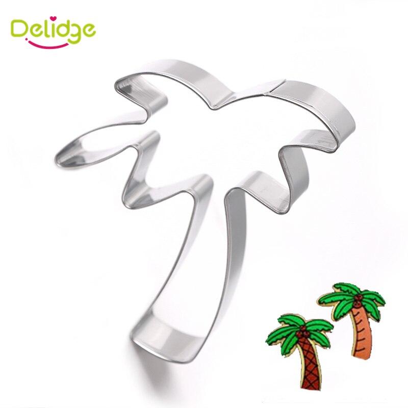 Delidge 1 pc Kokospalme Cookie Formen Edelstahl Palm Coco Cookie Cutter Tropische Pflanzen Keks Fondant Dekoration Formen