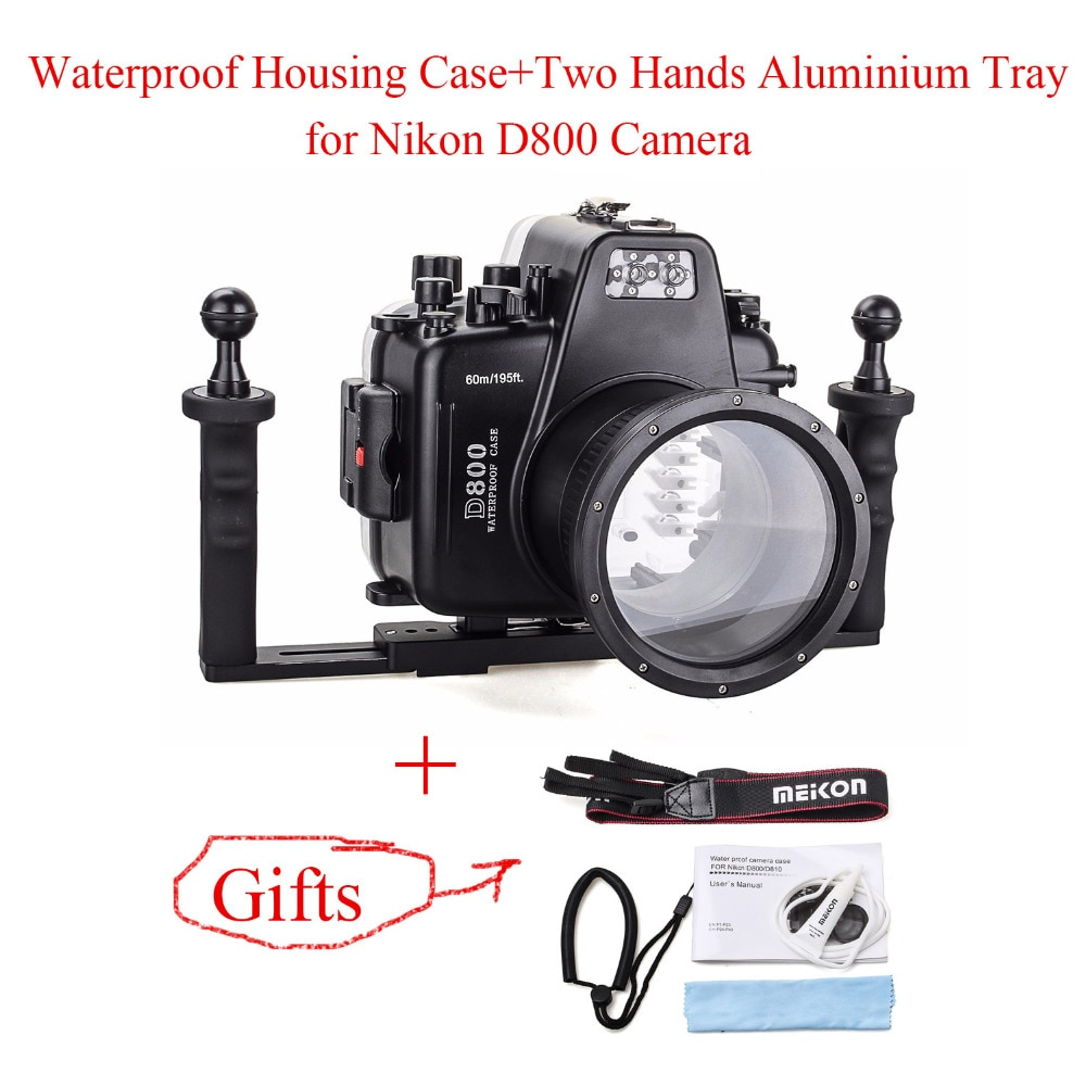 Meikon 60m/195ft Underwater Camera Housing Case for Nikon D800+Two Hands Aluminium Tray,Diving Equipment Waterproof Camera Bags