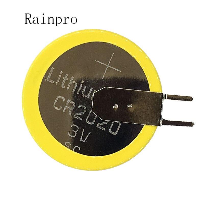 Rainpro 2 unids/lote CR2020 2020 con pins batería de litio pila de moneda Pie de soldadura para control remoto/medidor electrónico