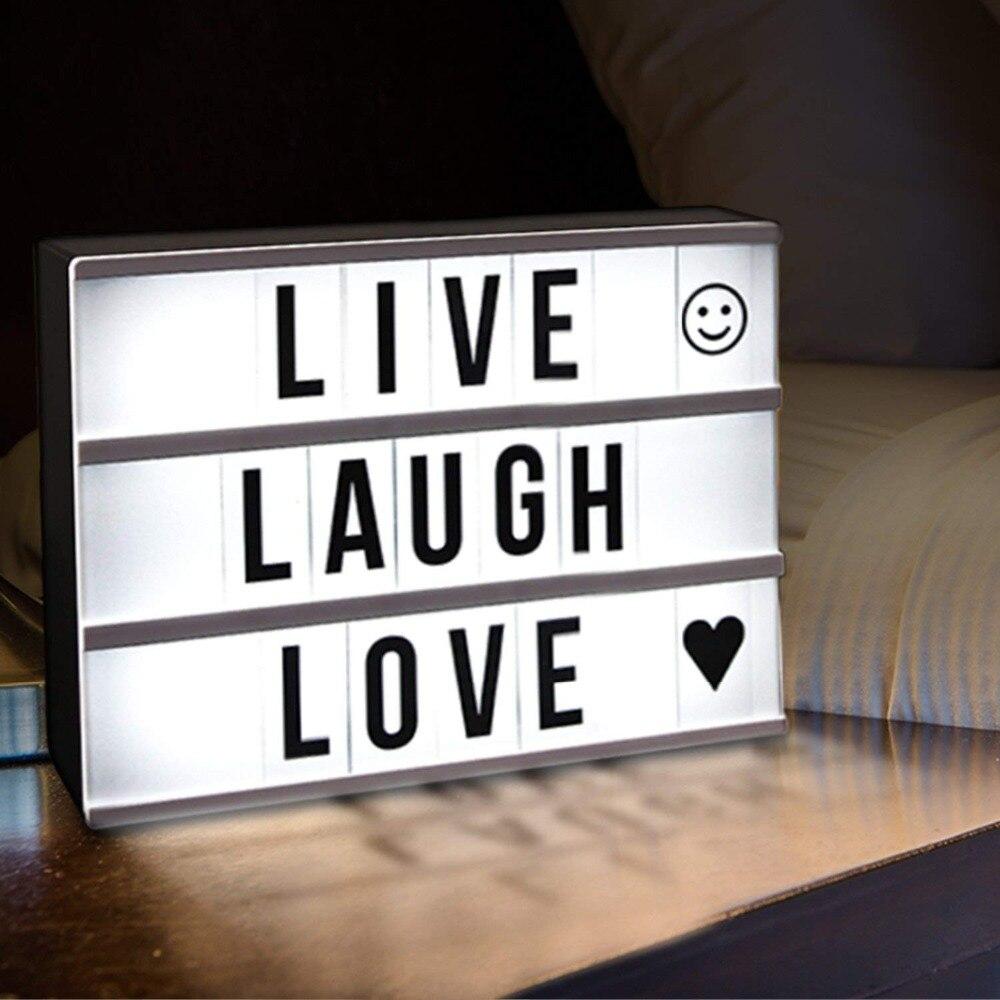 2018 diy a4 a6 tamanho led combinação caixa de luz noite candeeiro mesa diy letras pretas cartões usb powered lightbox